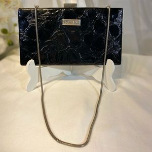Black Croc Clutch with Chain Handle